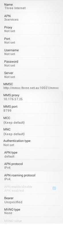 Three Mobile APN Settings for Android Australia