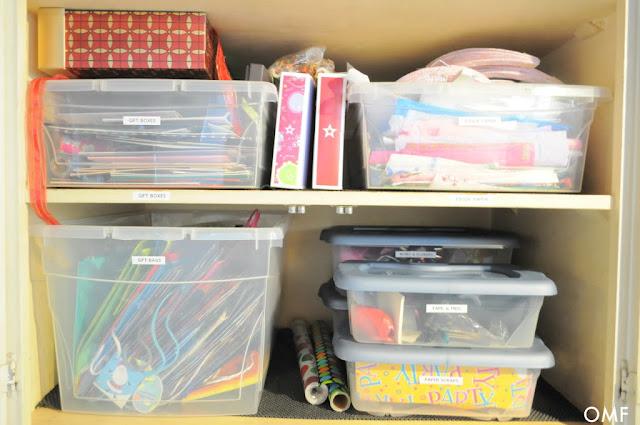Gift Wrap cupboard :: OrganizingMadeFun.com