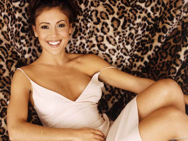 Alyssa Milano sexy in white dress