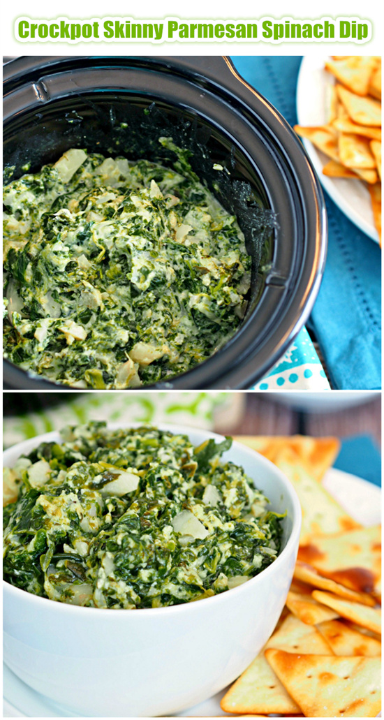 Crockpot Skinny Parmesan Spinach Dip