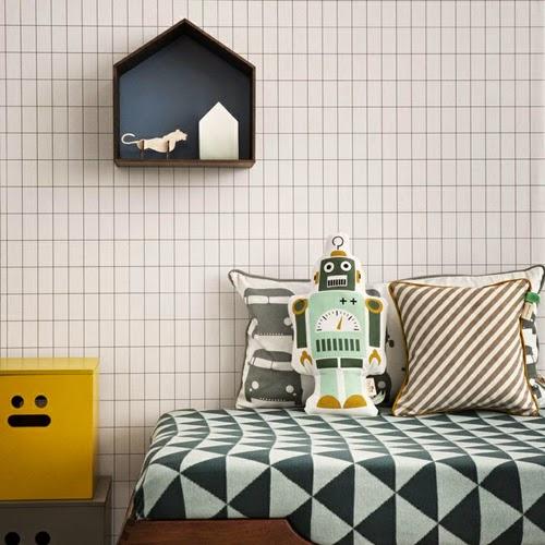 Dormitorio infantil con papel cuadrícula