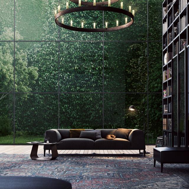 Salón - Ventanal - Biblioteca - Moderno
