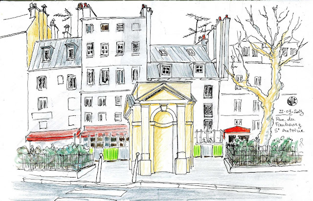 urban sketchers paris rue du faubourg st antoine. Black Bedroom Furniture Sets. Home Design Ideas