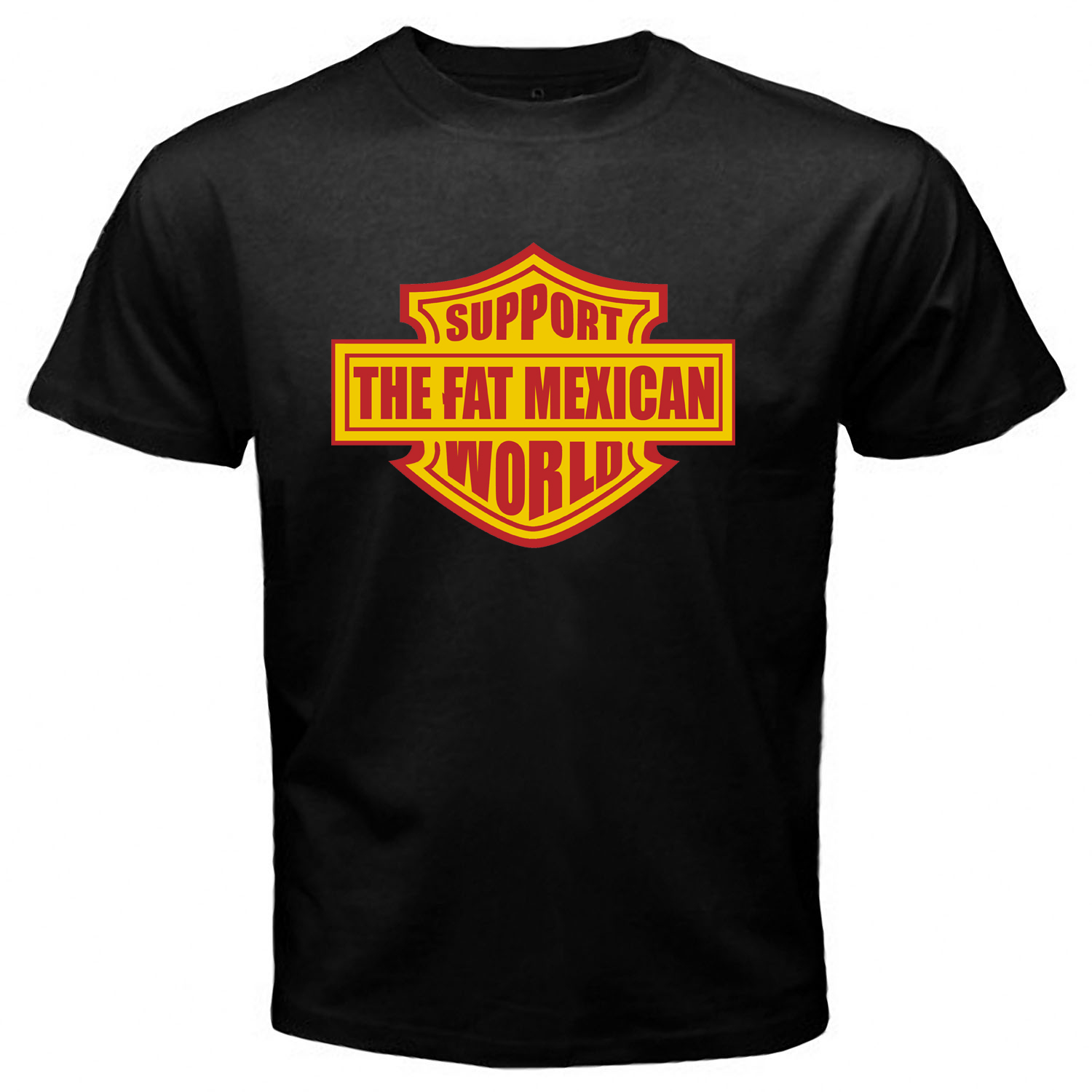 Support Fat Mexican World Bandidos Black Tshirt One Side