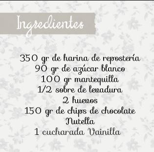 Ingredientes receta cookies nutella