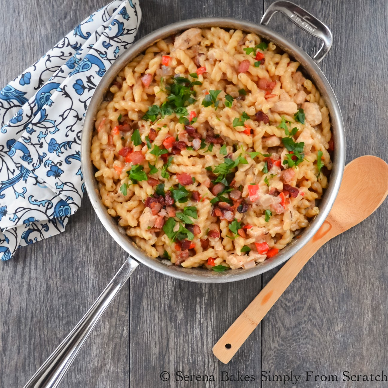 Creamy Bacon Chicken and Pasta Skillet. An easy one dish dinner full of flavor from serenabakessimplyfromscratch.com