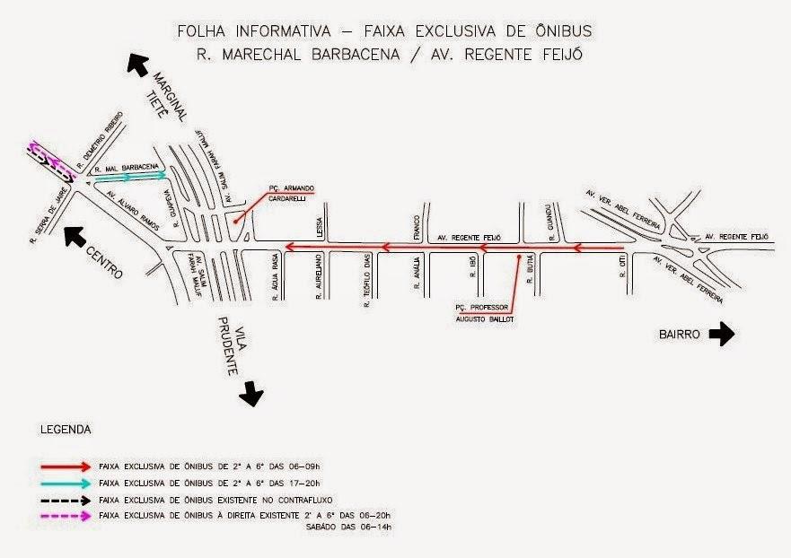 Faixas exclusivas para ônibus na Rua Marechal Barbacena e Av. Regente Feijó