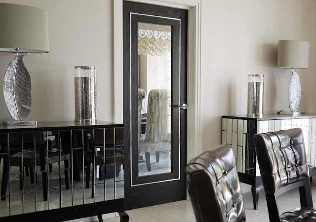 Gallery: White etching with mirror fitted in door