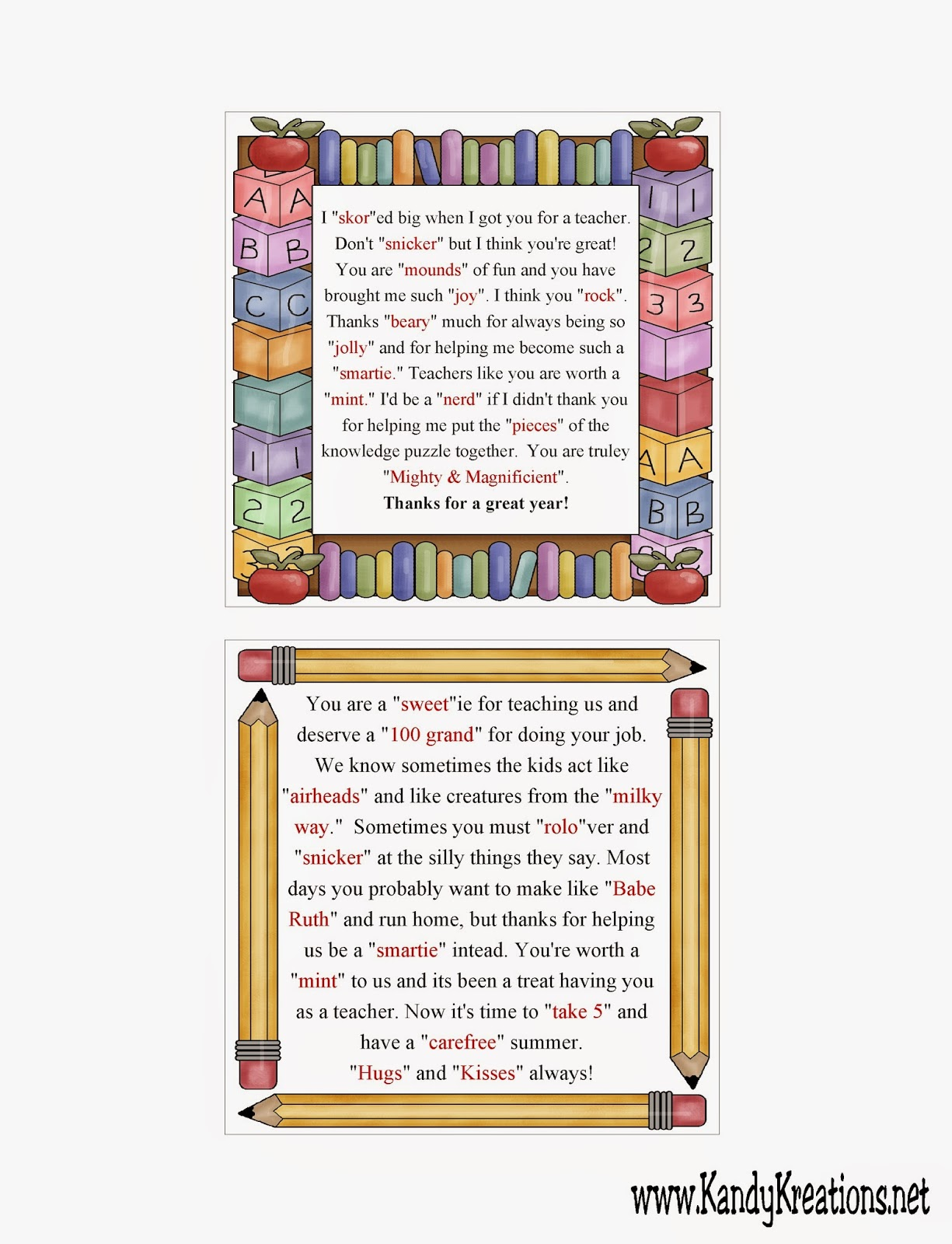 Teacher Candy Gram Thank you Poem Printable for Teacher Gift