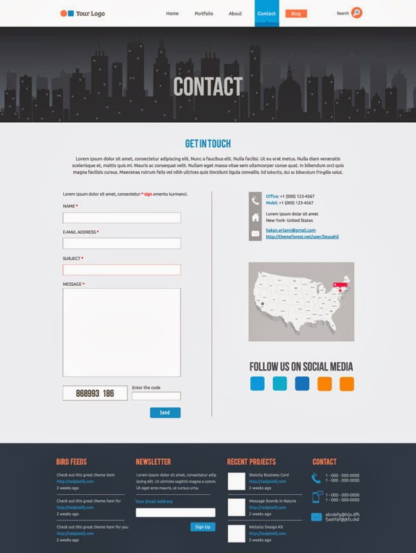 Flat Website Template contact