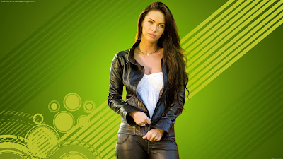 Megan Fox Green Wallpaper Background