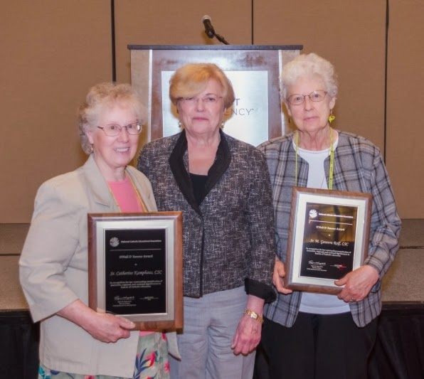 Holy Cross Sisters Catherine Kamphaus and M. Genevra (Rolf) receive the 2015 O'Neil D'Amour Award. www.cscsisters.org