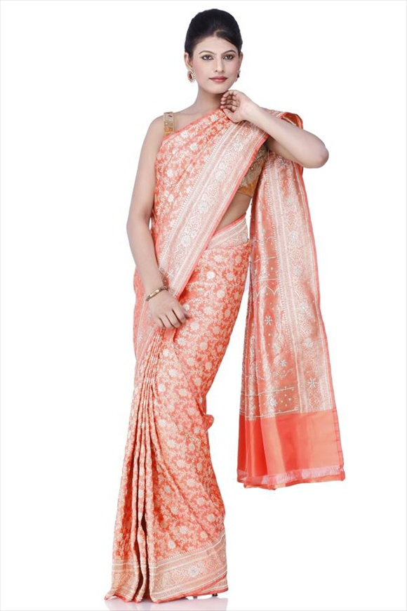 Orange Kattan Silk Banarasi Saree