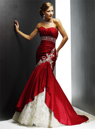 SHE FASHION CLUB Black White And Red Wedding Dresses