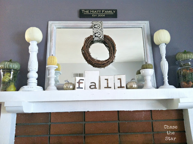 http://www.chasethestar.net, fall, mantel, autumn, diy, crafts