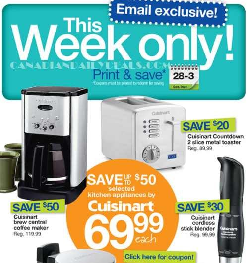 Canadian Daily Deals: Home Outfitters Coupons: Cuisinart Save up to USD 50 Off USD 69.99 Each ...