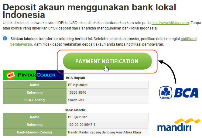 Cara deposit forex melalui bank lokal
