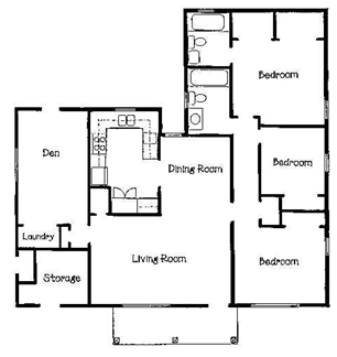 3 bedrooms 2 baths farmhouse l shaped garage plans on 3 2 bedroom 2 bath house plans