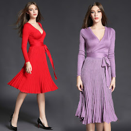 Long Sleeve Red/Purple V-Neck Pleated Flare Past Knee Length Dress