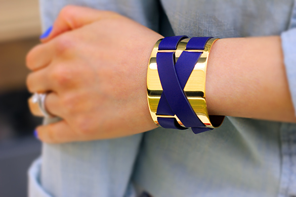 JewelMint Blue & Gold Harness Cuff