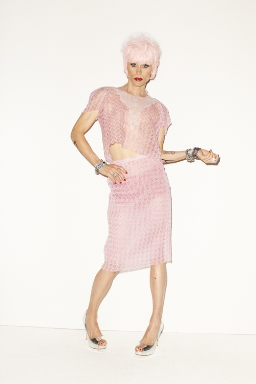 Jared Leto wearing pink wig in Candy Magazine