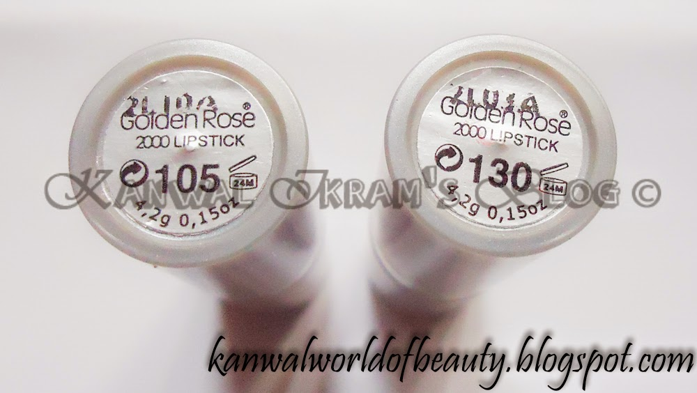 Golden Rose Lipstick-105 and130 Swatches