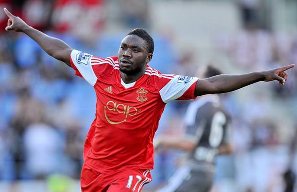 Southampton player Emmanuel Mayuka celebrates after scoring a goal against Beşiktaş