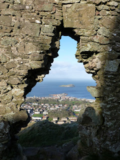 View through the old coven house on North Berwick Law across the Forth
