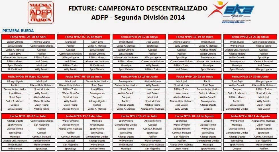 Conoce los partidos de Mannucci en la Segunda División Nacional 2014