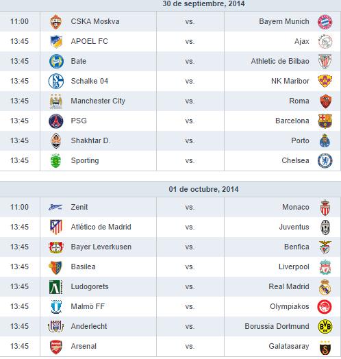 Hoy arranca jornada 2 Champions League 2014 - 2015