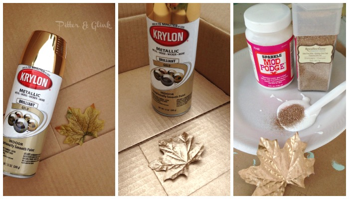 Spray paint and glitter a dollar store leaf for pretty Thanksgiving decor. pitterandglink.com