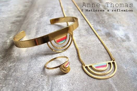 Anne Thomas bijoux sunset plaqué or laqué doré coloré