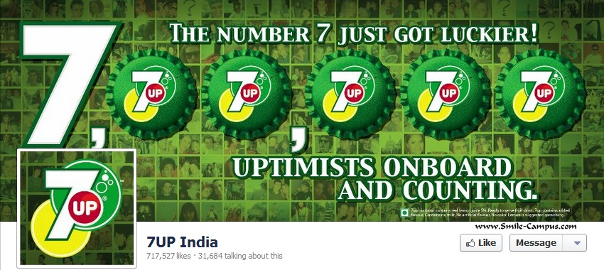 Facebook page of 7Up