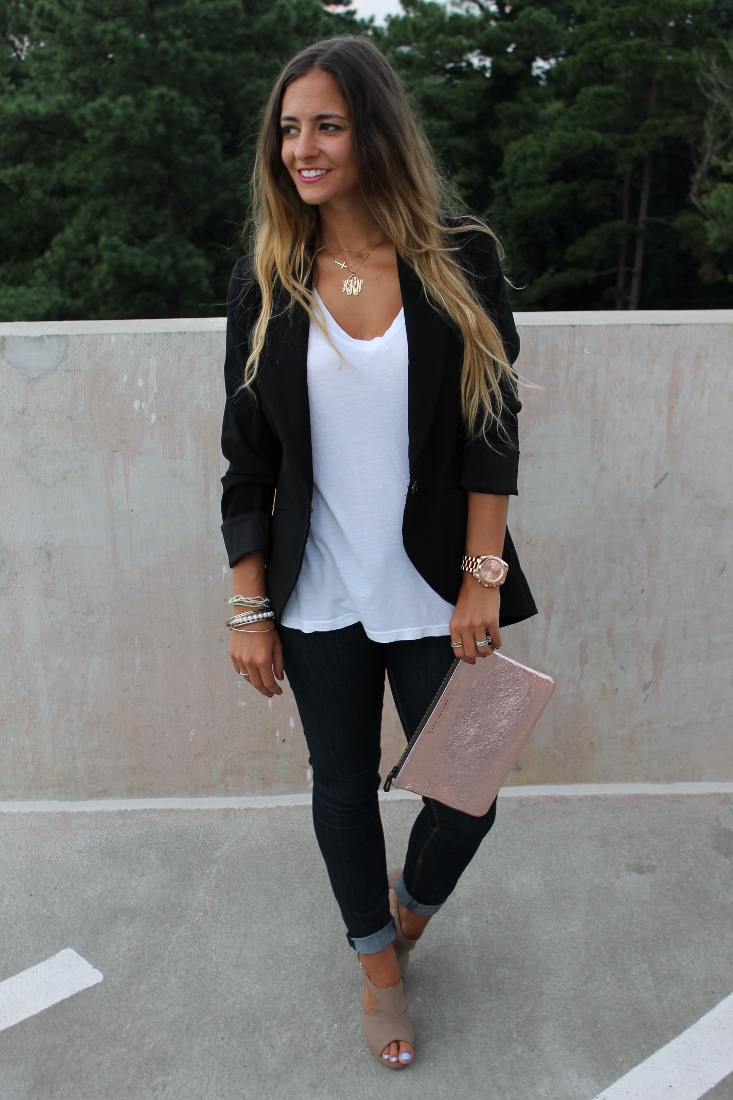 bedazzles after dark  pinspiration outfit post  blazer  jeans  tee  repeat