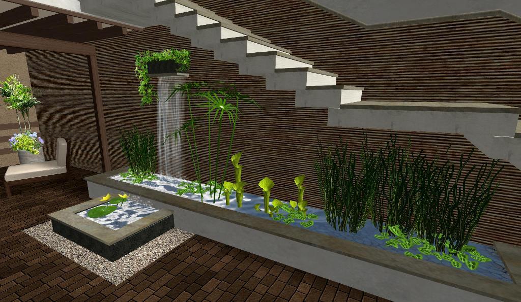 diseño patio jardin acuatico cascada estanque - jardines de lujo