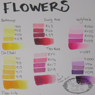 Copic colour journal flower colours