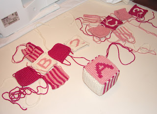 knit blocks in progress pink white