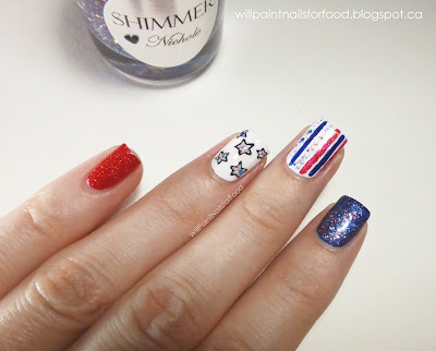 Fourth of July Nail Art With Shimmer Nichole