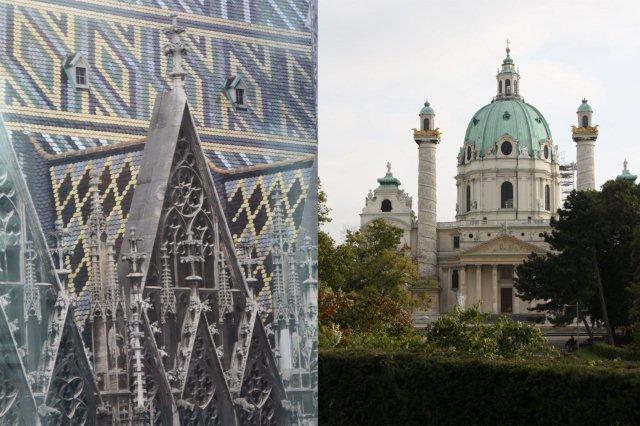 Stephansdom Catedral de San Esteban y Karlskirche Iglesia de San Carlos Borromeo en Viena
