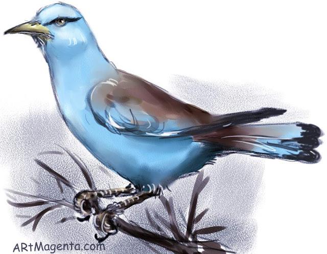 En  fågelmålning av en Blåkråka från Artmagentas svenska galleri om fåglar