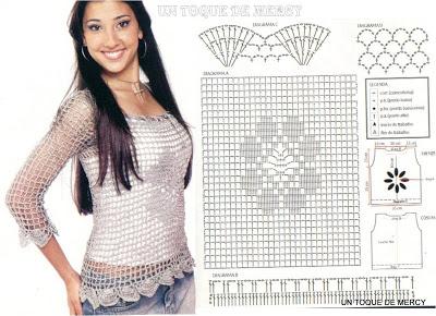Blusas a crochet( ganchillo) con patrones