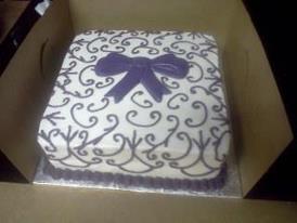 purple bow bridal shower cake