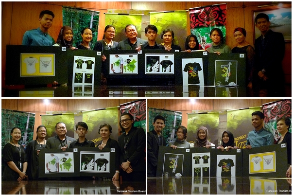 Winners posing with their winning festival (Borneo Jazz and Rainforest World Music Festivals) t-shirt design