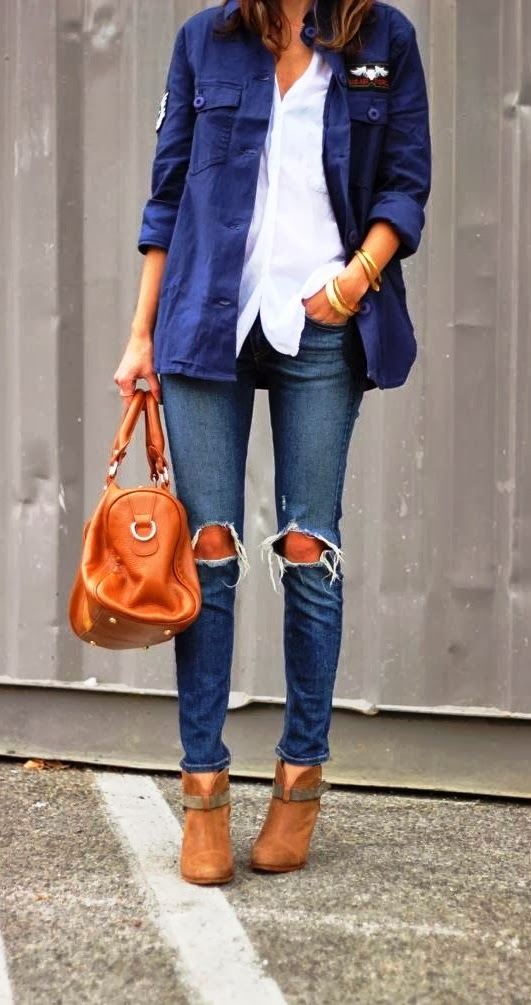 Military Jacket, Ripped denim and white blouse
