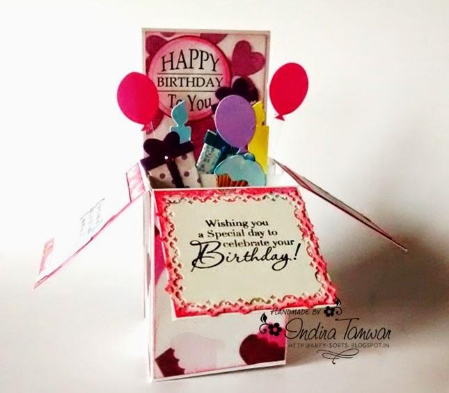 Arty Sorts Pop Up Box Card Birthday