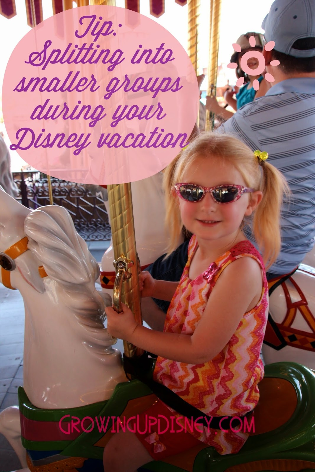If you are traveling to Walt Disney World with anyone other than yourself, take note of this tip....split up!  While you planned a lovely group vacation, you'll enjoy it more if you don't try to keep up with your whole gang all of the time, unless you enjoy walking backward with a small flag.  Consider breaking into smaller groups and then meeting up later for a meal to discuss the fun you all had.