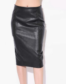 Elegant PU Leather Long Pencil Skirt