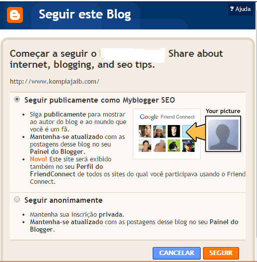 Follow this Blog Popup window