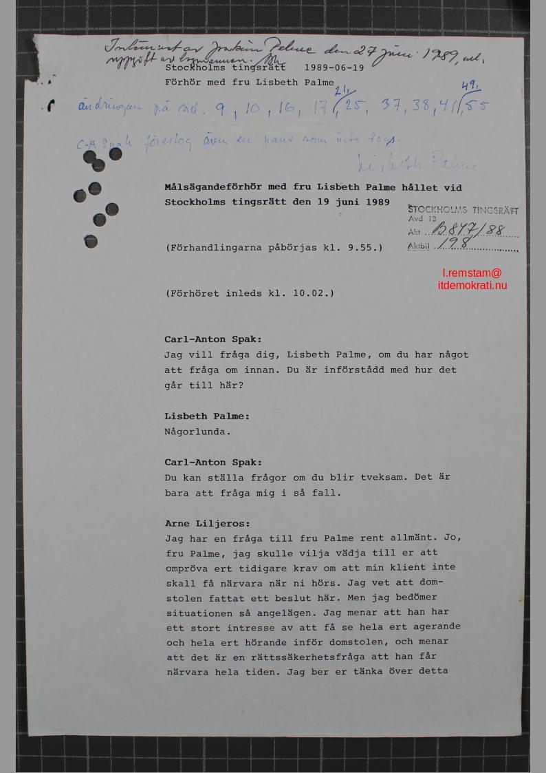 Lisbeth Palme förhörs i Tingsrätten 1989 1.