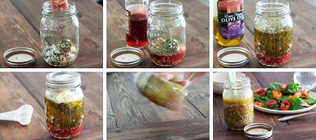 Stap voor stap recept om supersnel vinaigrette te maken in een bokaal met deksel
